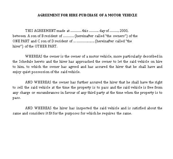 Vehicle Hire Purchase Agreement Template