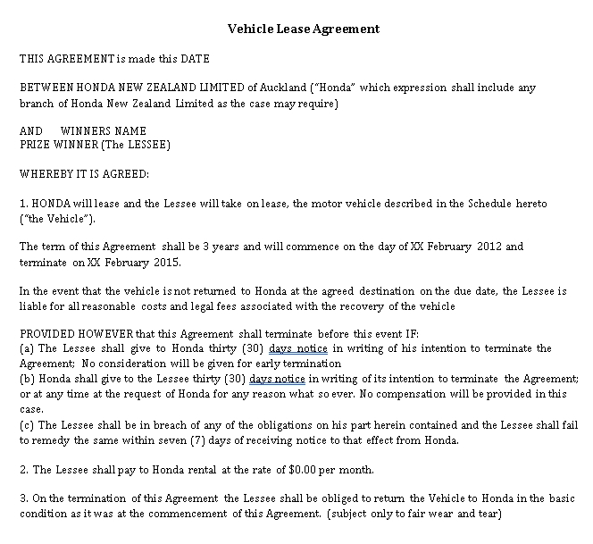 Vehicle Lease Agreement Template 1