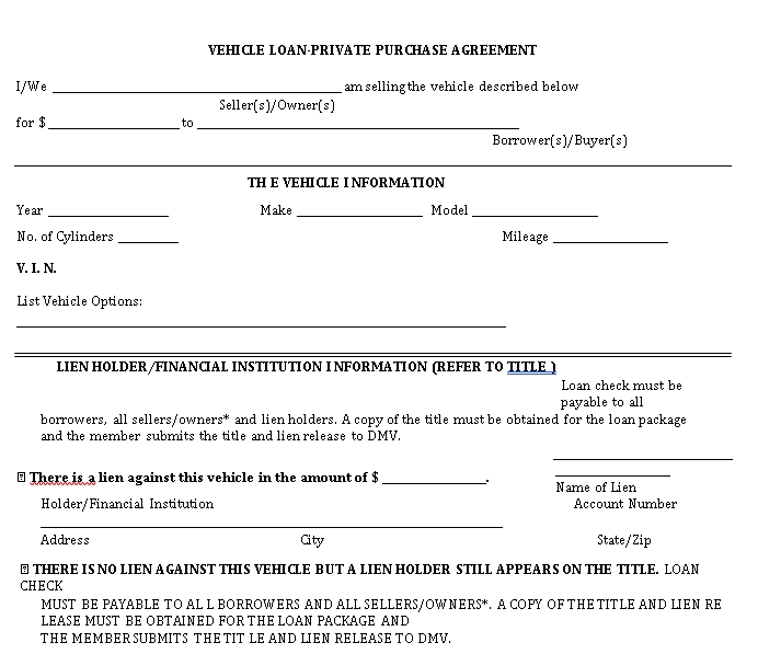 Vehicle Loan Purchase Agreement Template