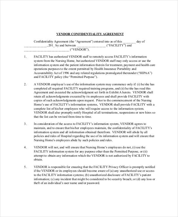 Vendor Confidentially Agreement Template1