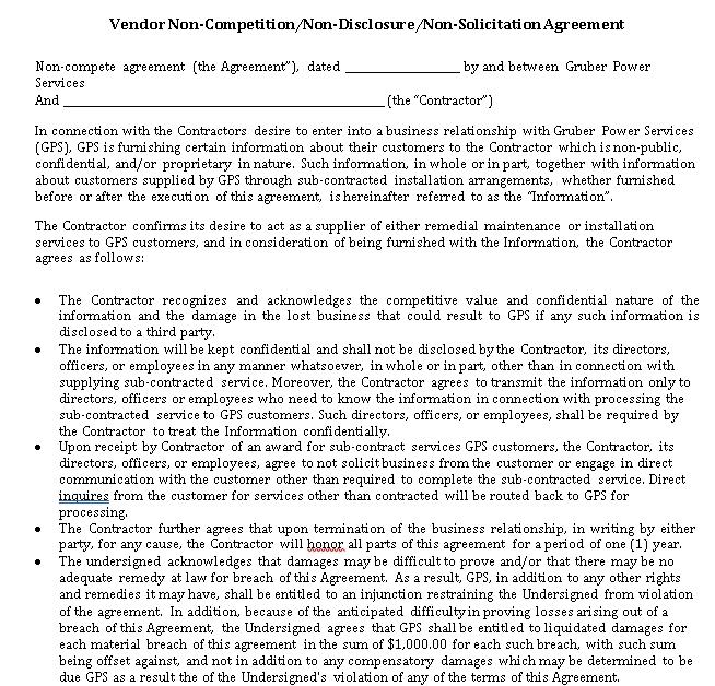 Vendor Restaurant Non Competition and Non Disclosure Agreement Template