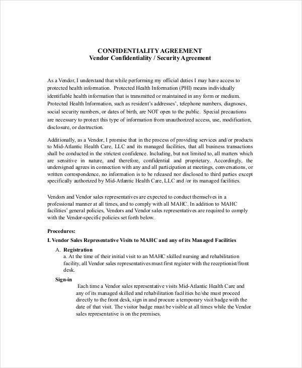 Vendor Security Confidentiality Agreement1