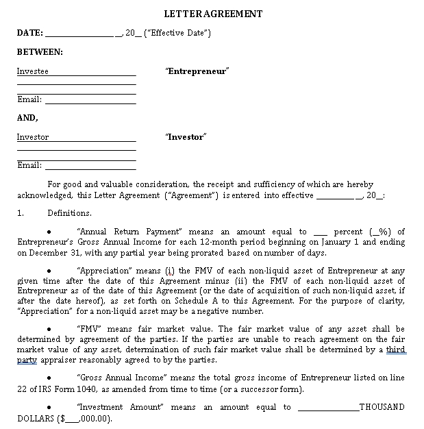 Venture Capital Letter Investment Agreement Template