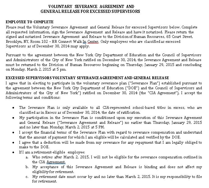 Voluntary Severance Agreement