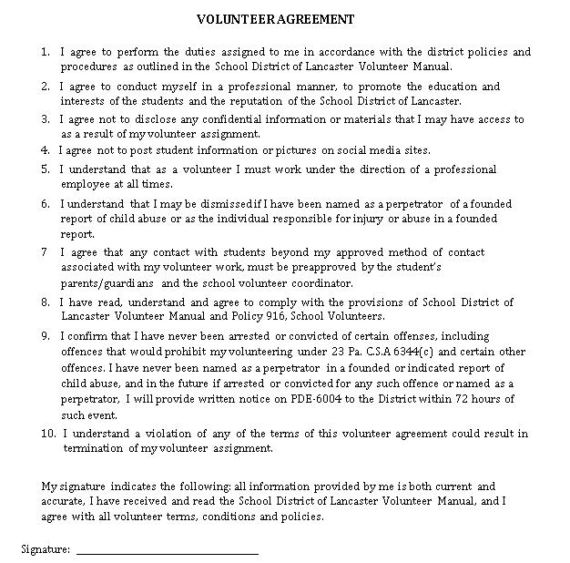 Volunteer Agreement 1