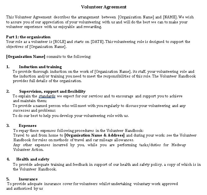 Volunteer Agreement Format