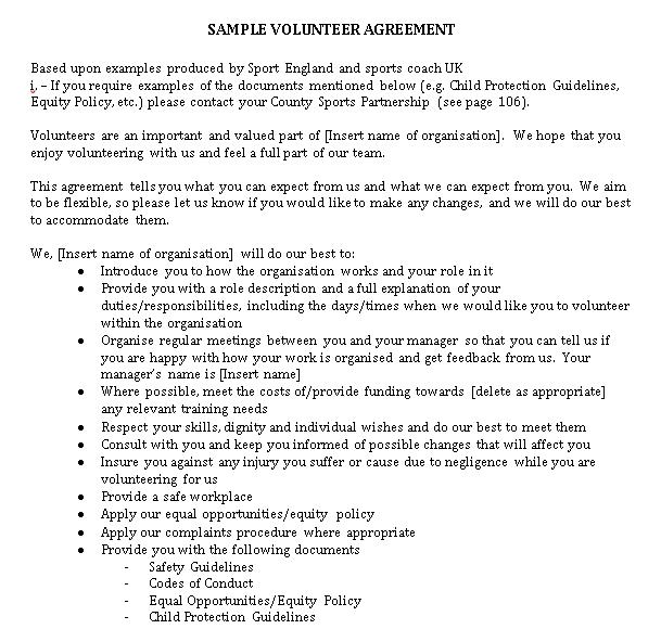Volunteer Work Agreement Template