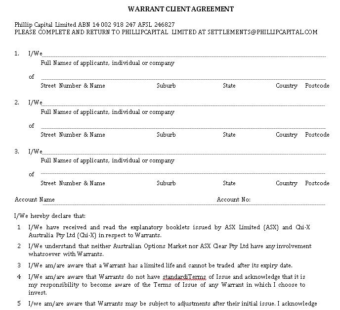 Warrant Client Agreement