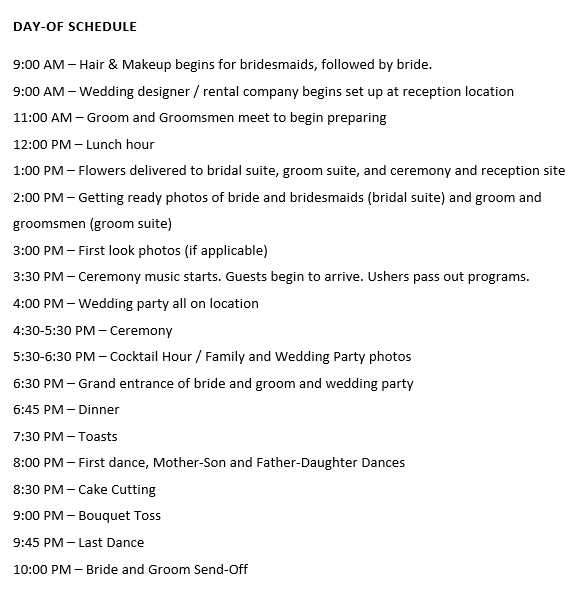 Wedding Day Schedule in Word Doc