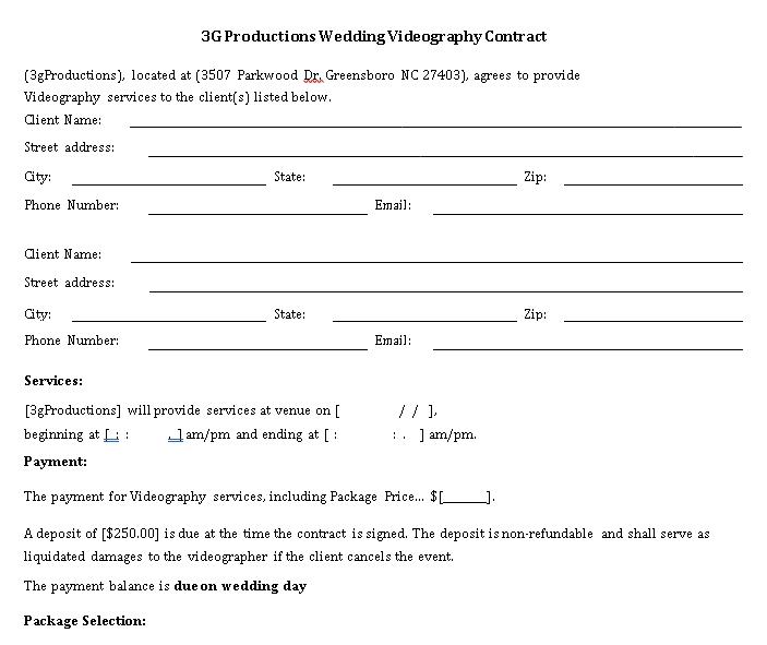Wedding video Contract