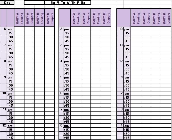 Weekly Baby Schedule in Excel Download