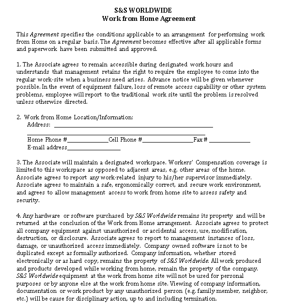 Work From Home Agreement Template