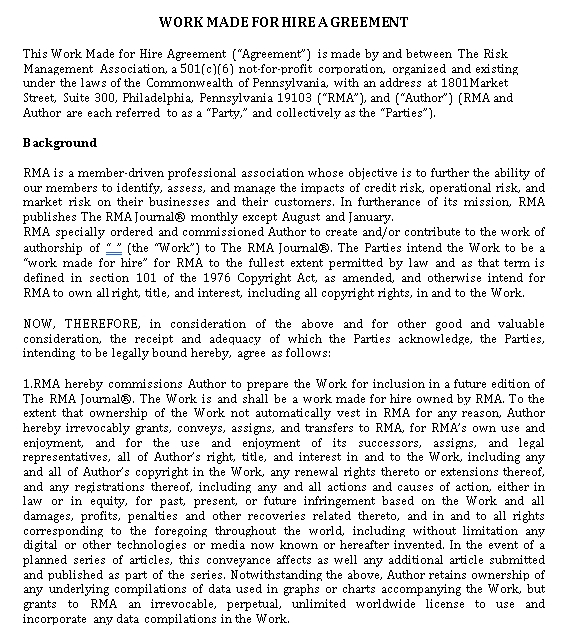 Work Made For Hire Agreement
