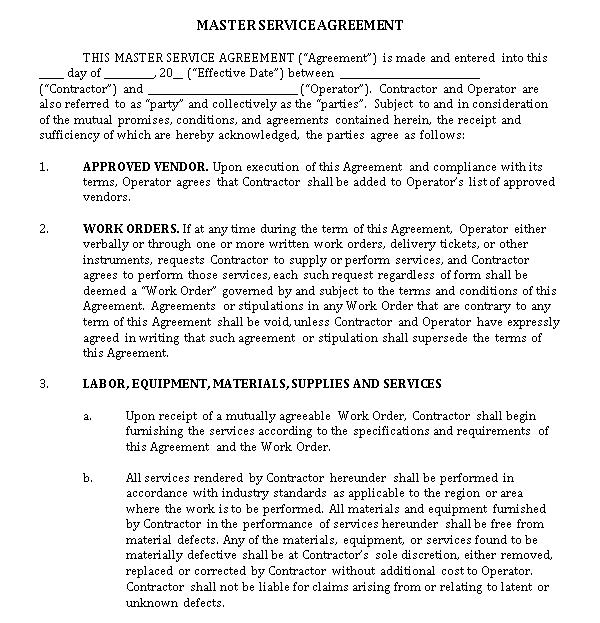 Work Order Agreement Template