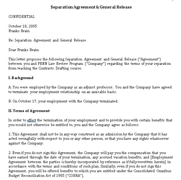 Work Separation Agreement Sample