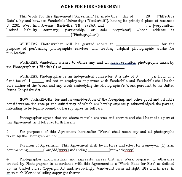 Work for Hire Agreement Format