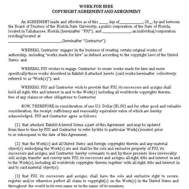 Work for Hire Copyright Agreement and Assignment