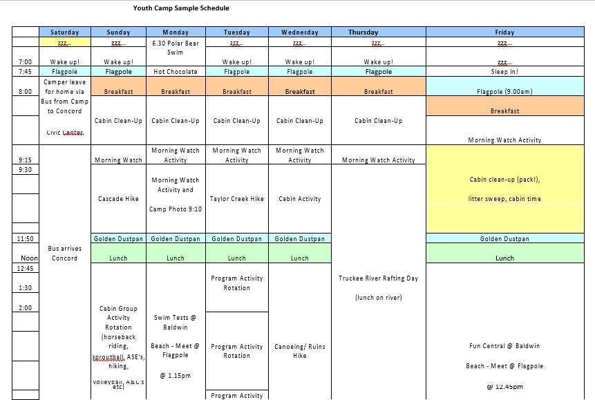 Youth Camp Chids Schedule
