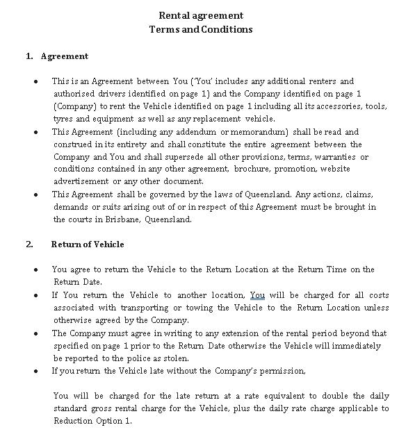 car hire rental agreement