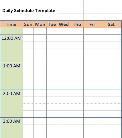 daily schedule 002
