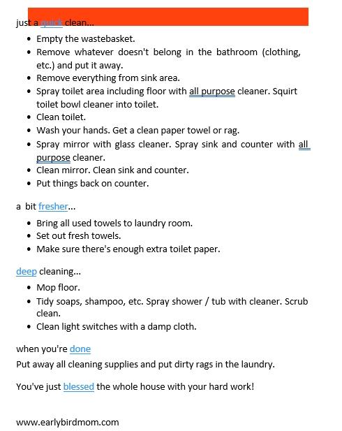 kids Bathroom Cleaning Schedule