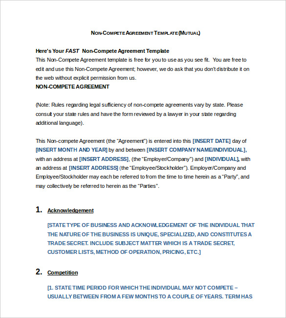 non compete agreement form Word Format