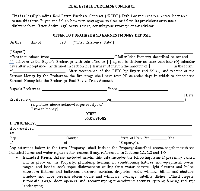 real estate purchase contract 1