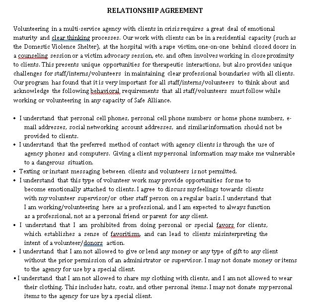 relationship agreement sample