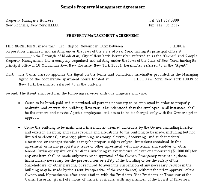 sample mgt agreement