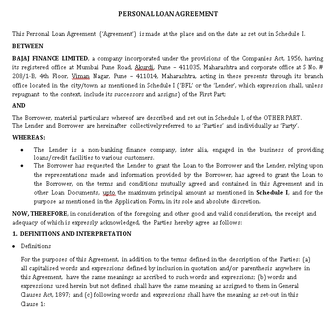 simple Personal Loan Agreement Sample