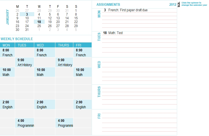 student weekly planning calendar any year mon sun