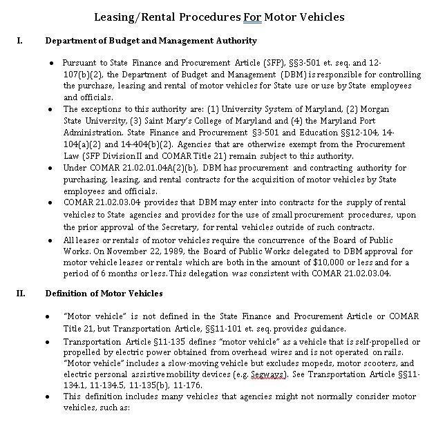vehicle leasing procedures