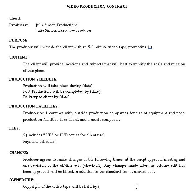 videography contract