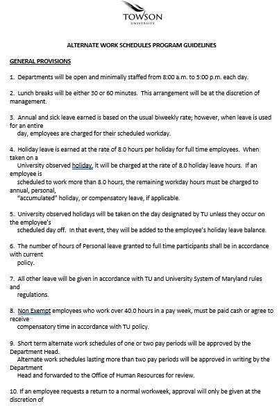 Alternate Employee Work Schedule Word Format