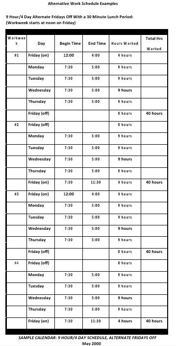 Alternative Monthly Work ScheduleTemplate Download