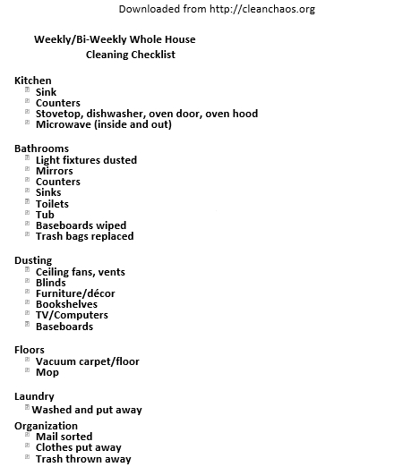 Bi Weekly Whole House Cleaning Checklist