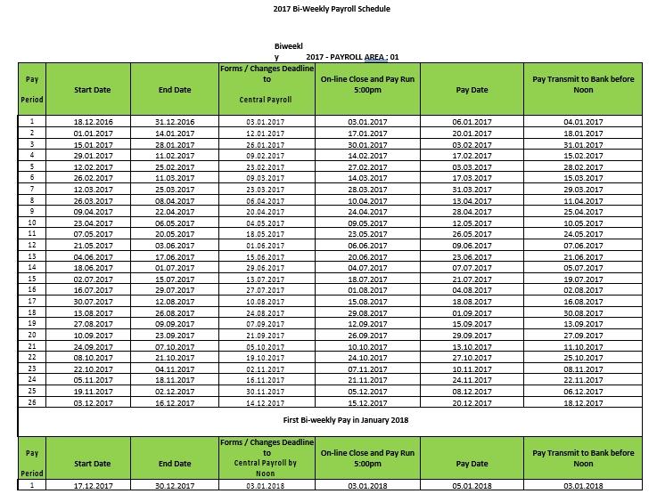 Bi weekly Payroll Schedule