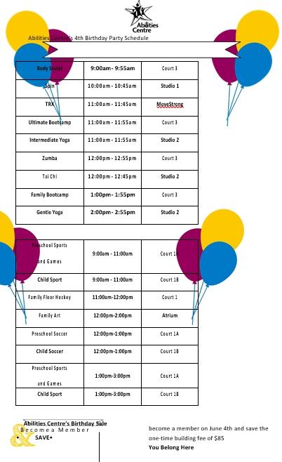 Birthday Party Schedule
