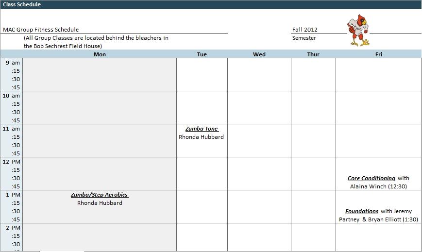 Blank Class Schedule Excel