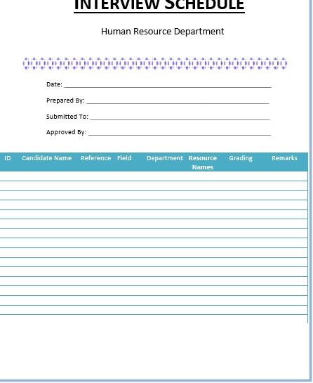 Blank Interview Schedule