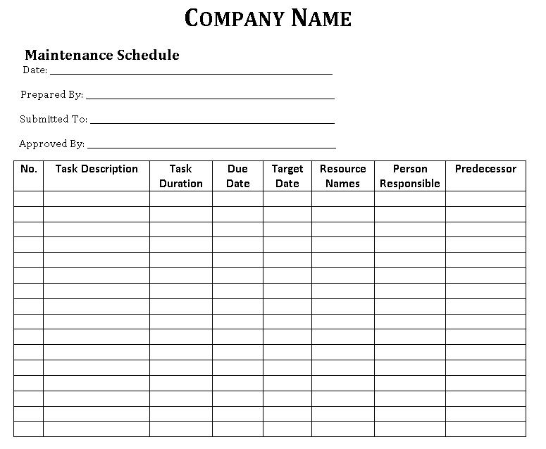 Blank Maintenance Schedule Word Doc
