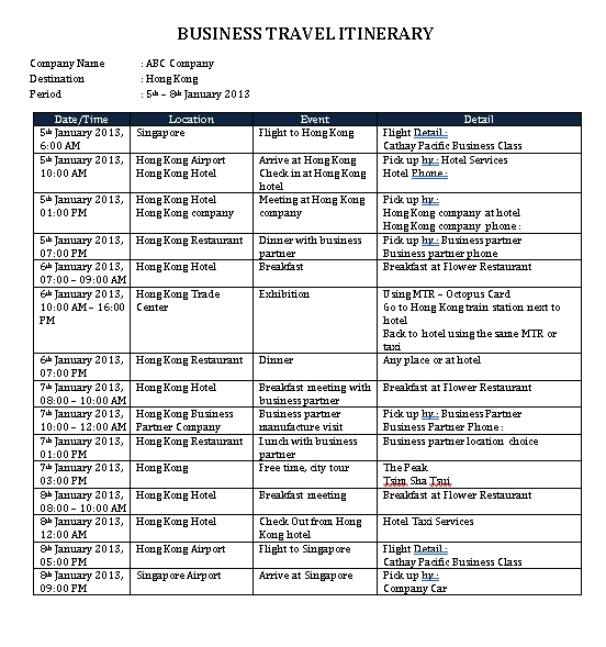 Business Itinerary Schedule Word Doc 1