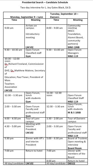Candidate Interview Schedule