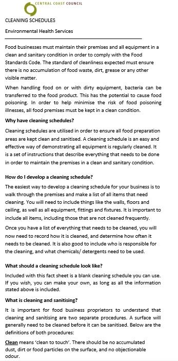 Cleaning Schedule Kitchen Format