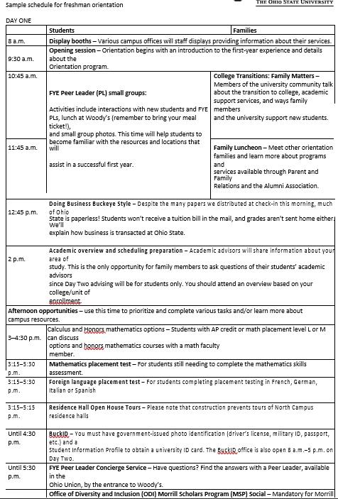 College Freshers Orientation Schedule