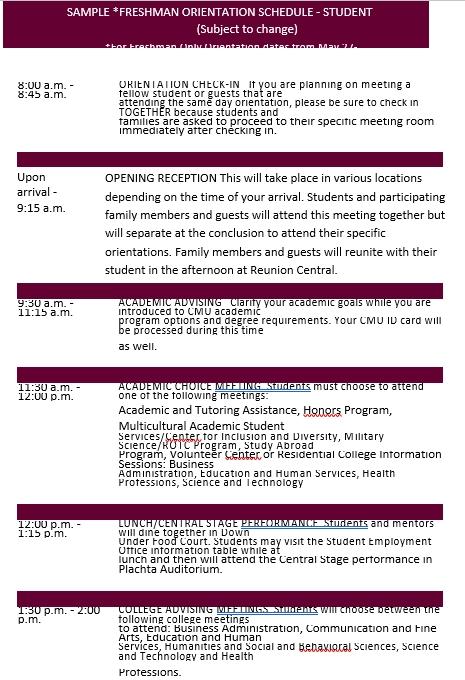 College Students Orientation Schedule