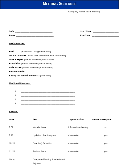 Company Meeting Schedule Word Doc