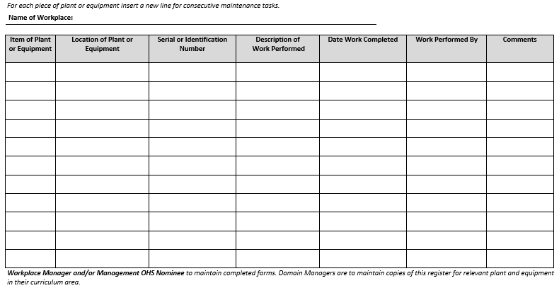 DEE EHU 10 4 1 Plant and Equipment Maintenance Form 2