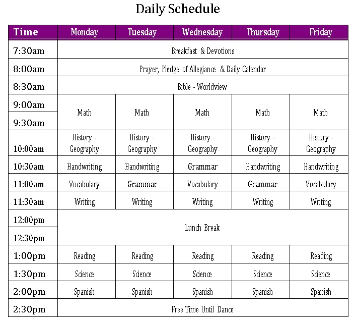 Daily Schedule 1