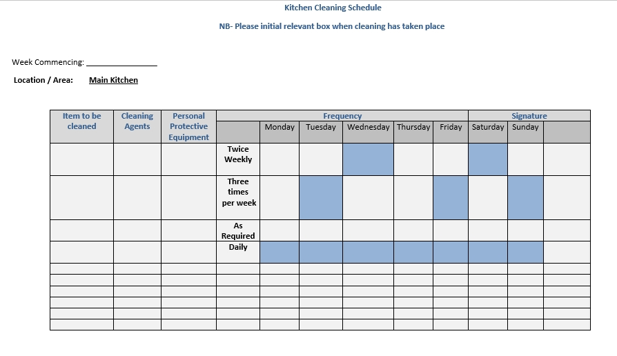 Doc Format Kitchen Cleaning Schedule 1 002